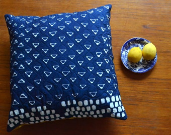 Sampler Hand Dyed and Patterned Indigo Cotton Pillow Cover