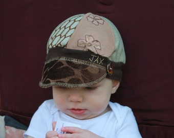 Toddler Jax Hat, brown suit hat,  brown mixed up hat, recycled t shirt hat, upcycled hat, baby hat, repurposed hat, Jaxhat, eco friendly