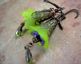 Colorful Fairy Flower Earrings, Lime Green, Faery Couture, Purple & Green, Spring Iris Colors, Dramatic Earrings, Elksong Jewelry