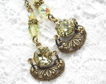 Candleglow - Vintage Preciosa Jonquil Rhinestones Filigree Brass Dangle Earrings