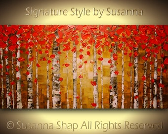 Original Oil Painting Birch Tree Abstract Landscape Painting Art Red Aspen Modern Palette Knife Impasto Artwork 48x24