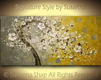 ORIGINAL twisted tree acrylic & oil painting, cherry blossom white flowers, wall art decor for home, palette knife art hand made by susanna