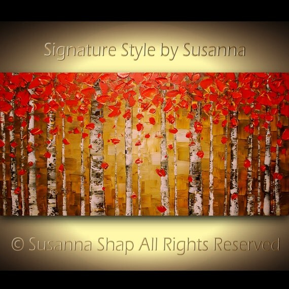 Original Oil Painting Birch Tree Abstract Landscape Painting Art Red Aspen Modern Palette Knife Impasto Artwork 48x24