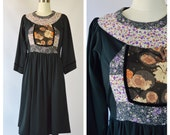 1970s floral boho dress / ethnic hippie dress (s)