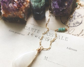 C l a r i t y...Rainbow moonstone necklace, amazonite, moonchild, boho, protection, crown chakra, gold necklace Free Shipping