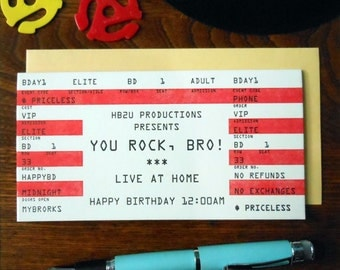 letterpress you rock, bro! concert ticket greeting card brother birthday day red & black