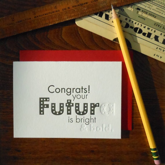 SALE 50% OFF letterpress futura greeting card typography pun font humor black ink and blind emboss on white paper congrats! futura bright