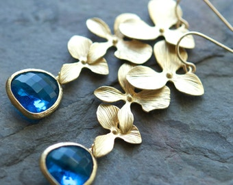 Long Floral Orchid Earrings, Cobalt Blue Glass, Gold, 14K Gold Filled Ear Wires, Custom Colors Available