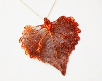 JULY Sale Beautiful Real Japanese MOON MAPLE Leaf in Copper with a 14kt Gold Fill Chain