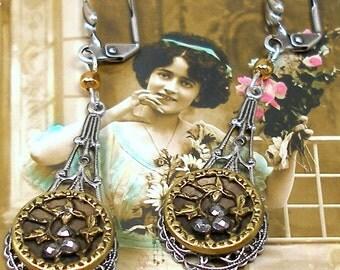 Antique BUTTON earrings, Victorian cut steel flowers on silver. Antique button jewelry, jewellery.