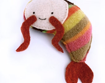 Candy Stripe Shrimp - Recycled Wool Sweater Plush Toy