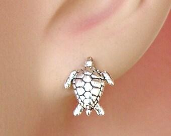Earrings Sea Turtle Sterling Silver Wildlife Minimal Ear Studs no. 3481