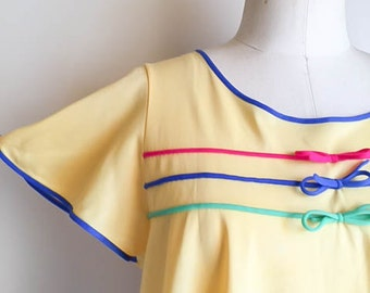 Sweet Vintage 60s Mod Colorful Yellow Babydoll Nightgown Dress