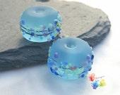 Lampwork Beads Seaglass Blue Batik Blossom Mix Pair