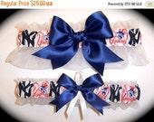 FALL SALE Handmade Wedding Garter Set New York Yankees Keepsake and Toss Bridal nw1