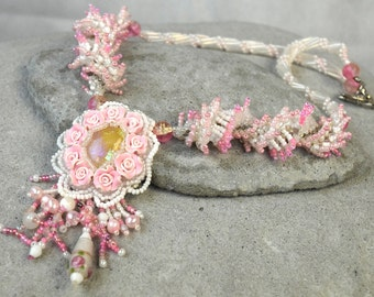 Bridal Rose Necklace - Blush Pink Necklace - Pastel Pendant Necklace - Delicate Pink Necklace - Rose Petal Necklace - Boho Flower Pendant