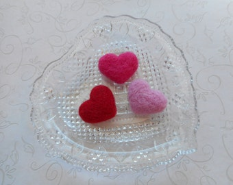 Mini, Needle Felted Hearts, Wool, Handmade, Set of 3, Red, Pink, Traditional Colors,  Valentines Day