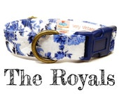 "Vintage Dog Collar - Floral Dog Collar - Girl Dog Collar - Shabby Chic Dog Collar - Antique Brass Hardware - ""The Royals"""