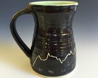 John Muir Trail elevation profile mug  14-16 oz wheel thrown pottery