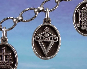 PETITE MEDAL - VOODOO - LaSirene Veve Charm Pendant in Sterling Silver, Bronze, 14K Gold