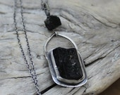 Black Tourmaline Necklace - Natural Crystal - Artisan Made - Sterling Silver - Hand Crafted