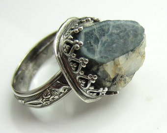 Jutting Out of the Rough - Blue Tourmaline Crystal in Quartz Matrix Set in Sterling Silver Size 6