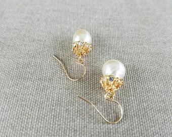 Vintage, Pearl Drop Earrings, Bridal Earrings, Swarovski, 18kt. gold filled, Crystal Earrings, Bridal Accessories, Bridal Pearl Earrings,