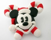 Upcycled Christmas Mickey Mouse Brooch
