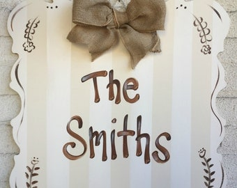 personalized sign, family name sign, door hanger, wedding sign, door decor, personalized wall decor, painted name sign, name plaque