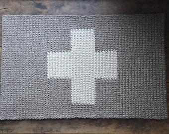 "Swiss Cross Plus Sign Crocheted rug 100% natural wool 36""x23"", entry mat, bedroom rug, rectangular carpet, latex backing"