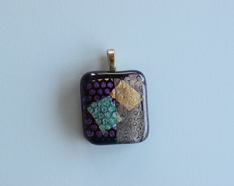 Polka Dots Pendant - Dichroic Glass Pendant - Gold Tan Turquoise Purple - Teal Gold Squares - Fused Glass Pendant - Melted Glass Pendant