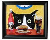 Funny Cat Art - Silent Mylo Tuxedo Cat - Cat with Hamburger - Canvas Print with 3D Polymer Clay Cat - Tuxedo Cat Art
