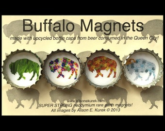 Four Seasons Buffalo Magnets -  Refrigerator Magnets  - Buffalo Art - Bottle Cap Magnets - Buffalo NY - Buffalove - Buffalo Gift
