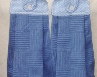 SET of 2 - Hanging Cloth Top Kitchen Hand Towels - Light Blue Polka Dot Print - Blue Towels
