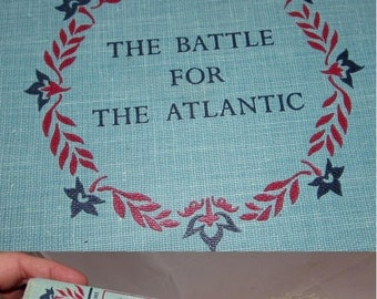 Vintage Hardcover Book, The Battle for the Atlantic, Landmark Books, by Jay Williams, First Printing 1959, childrens, teaching, learning