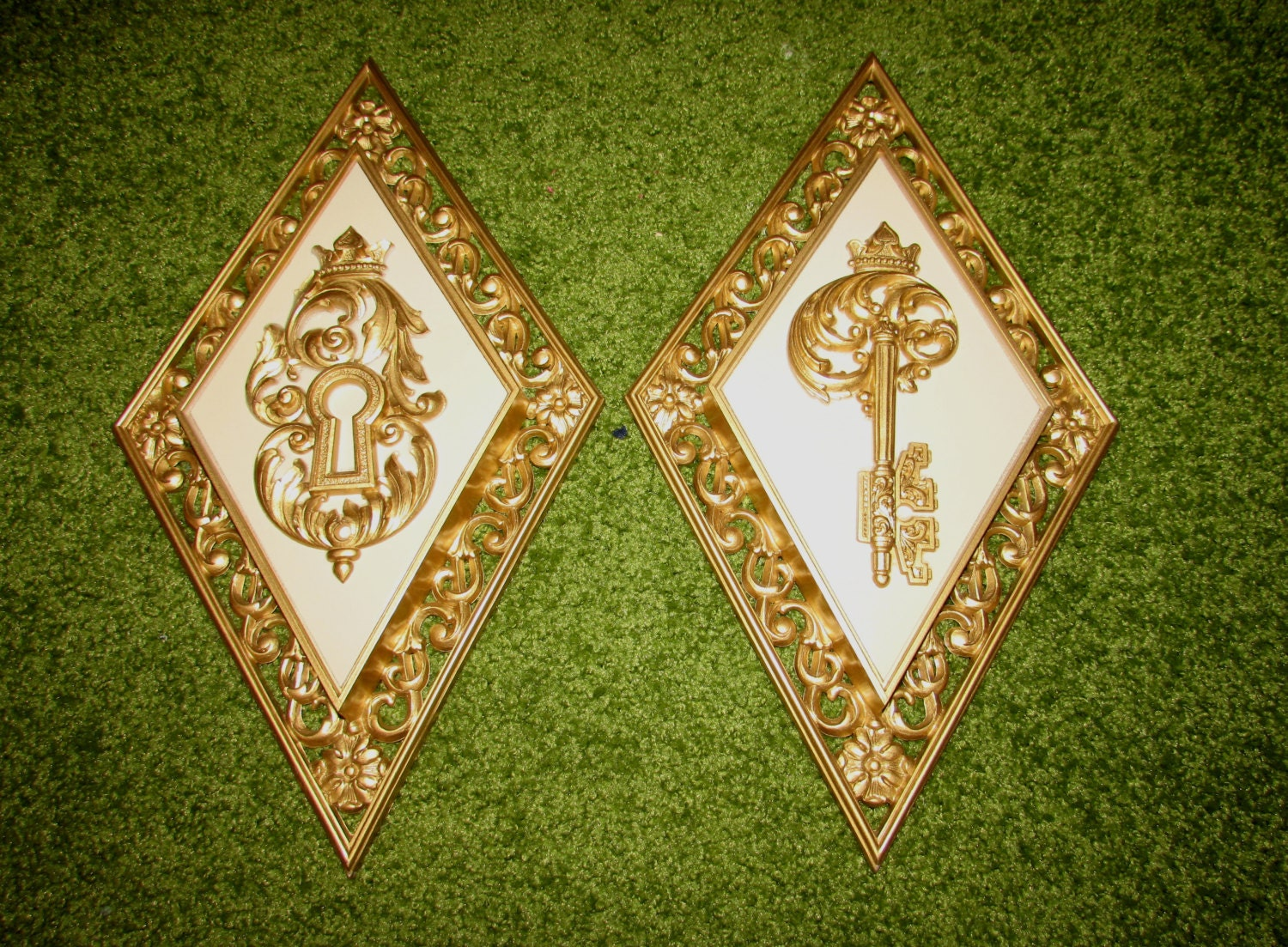 Pair of Vintage Molded Plastic Gold & Cream Wall Plaques Hangings by ...