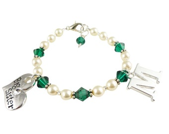 Cream Pearl & Emerald Crystal Big Sister Initial Bracelet - Little Sister- all colors sizes