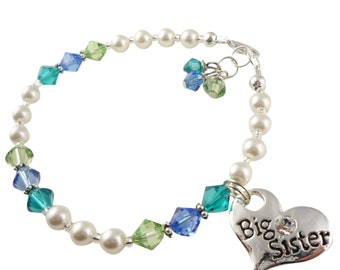 Blue & Green and pearl Big Sister custom bracelet - any colors