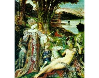PR-283 Artistic Ephemera Print ~ One 8x10 or Two 5x7s ~ Gustave Moreau - 'The Unicorns'