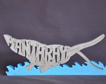 Manta Ray  Wood Puzzle Hand Cut with Scroll Saw Toy