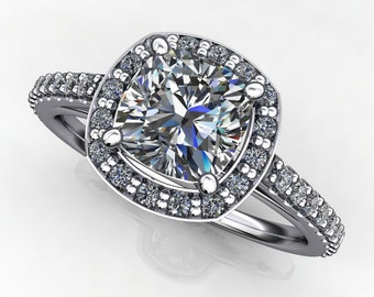 Private Listing for Vujovicv - anya ring - 1 carat forever one moissanite engagement ring, diamond halo ring, payment 2 of 2