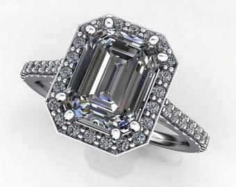grace ring - 1.75 carat NEO moissanite emerald cut engagement ring, diamond halo ring