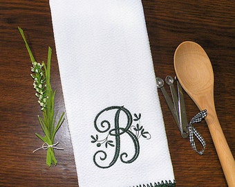 Monogrammed Dish Towel, Monogrammed Kitchen Towel Holly Green Crocheted Edge Towel