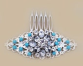 Wedding Hair Comb Blue Bridal Rhinestone Headpiece Turquoise Hair Accessories