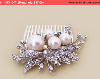 Bridal Hair Comb, Wedding Hair Accessories, Large Pearl Hair Comb, Rhinestone Crystal Leaf, Bridal Hair Accessories, Wedding Comb, SARA