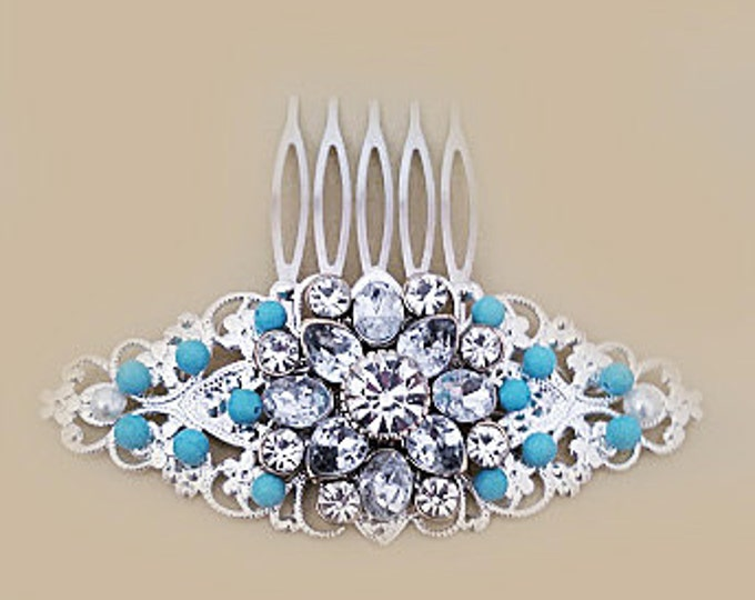 Crystal Flower Bridal Hair Comb with Turquoise Blue Stones