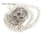 Star of David Necklace Soldered Industrial Look Rhinestone  Pendant Lorelie Kay Original