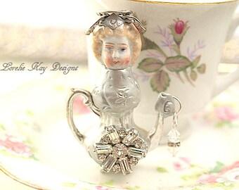 Farrah Tiny Teapot Art Doll  Original Art Doll Assemblage Tiny Teapot Mixed Media Doll Sculpture