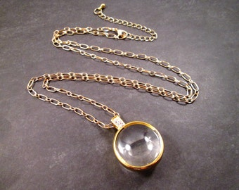 Magnifying Glass Pendant Necklace, Gold and Glass Orb, Magnifier Necklace, FREE Shipping U.S.