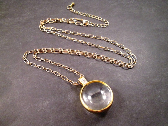 Magnifying Glass Pendant Necklace Gold and Glass Orb